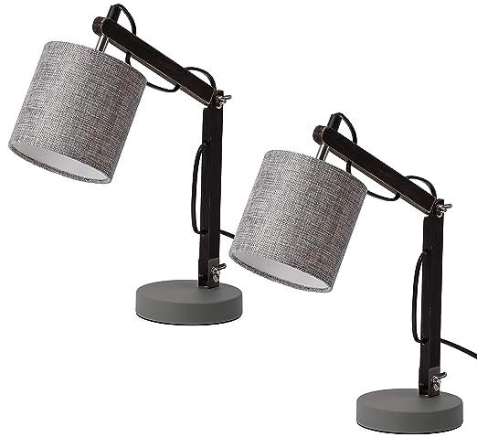 BRUBAKER Juego de 2 lámparas de lectura o de mesa - hasta 52 cm de altura - brazo de madera regulable negro - pantalla Gris