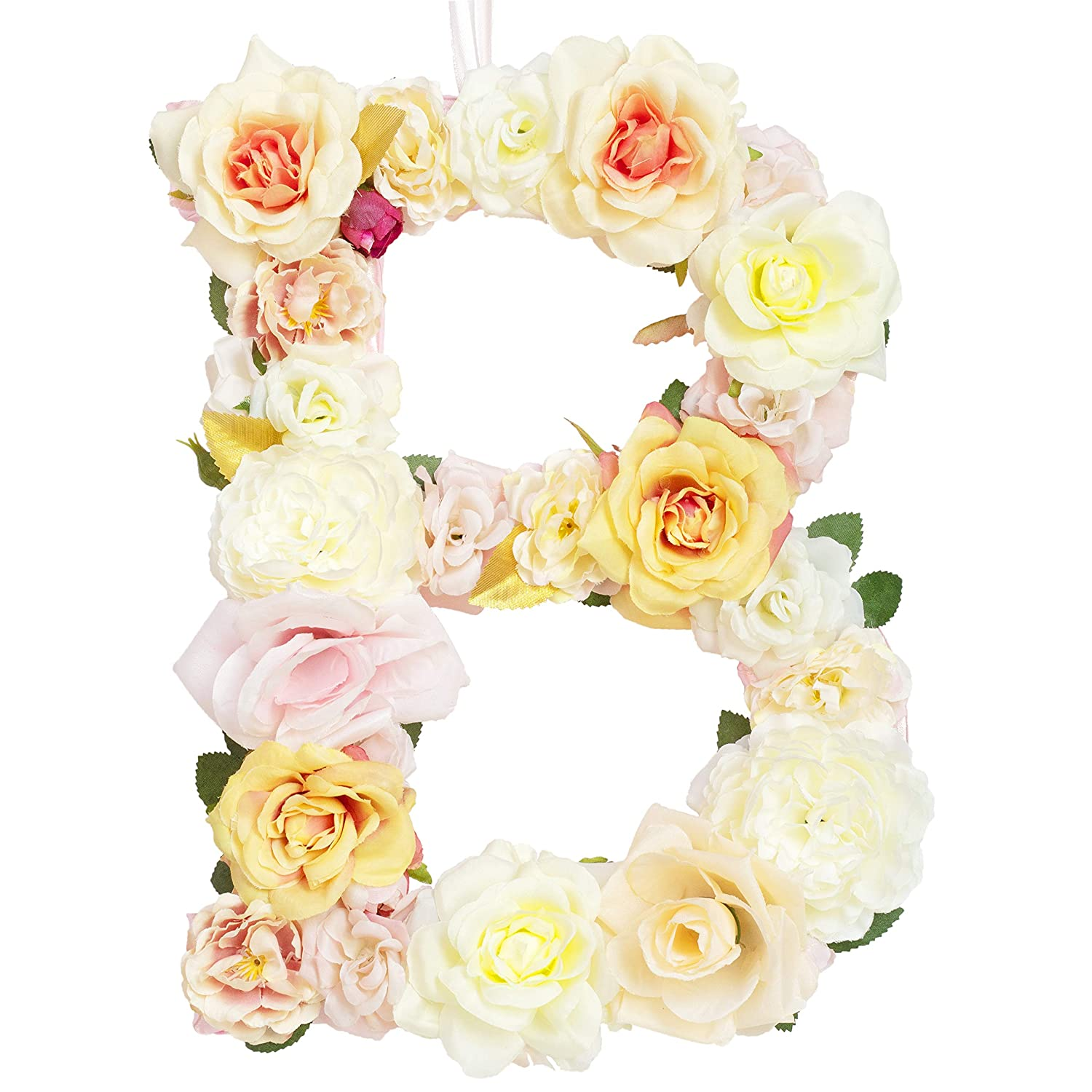 Jonhans8 Artificial Flower Letters Hanging Ornaments - 26 Letters (Champagne Theme), 12.2x9.4x0.6in - for Wedding Centerpieces Anniversary Birthday Party Home Decorations