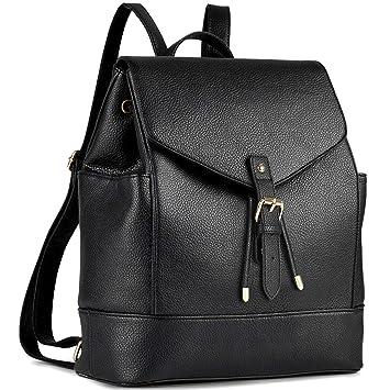 echt kaufen großer Abverkauf neues Hoch Damen Rucksack, Coofit Leder Rucksack Elegant Rucksack Damen PU Rucksack  für Mädchen Schwarz Rucksack Frauen Rucksack Daypack Backpack