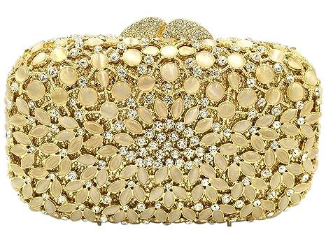 Bolso Mujer Noche Bolsas Fiesta Boda Carteras Brillo Mano Diamantes Cadena Embrague Dorado