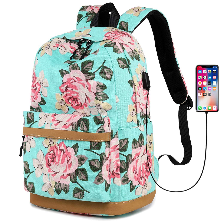 Laptop Backpack for Girls Teens School Bookbag Women Floral Dayback