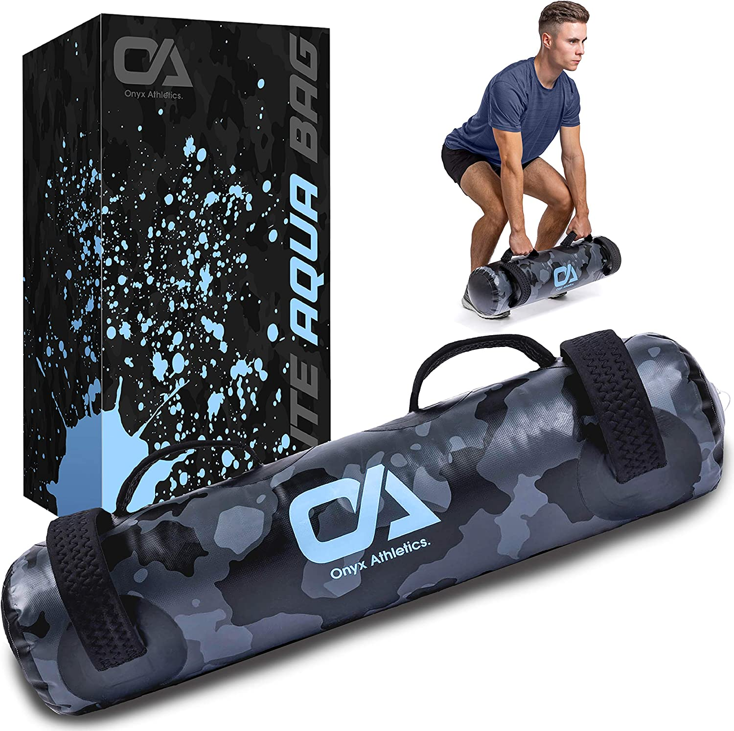 Onyx Athletics Elite Aqua Bag – Sandbags for Fitness with Water and Upgraded Air Pump – Adjustable Weighted Water Bag with Strong Handles – Perfect for Core and Balance Trainings - 45 LBS