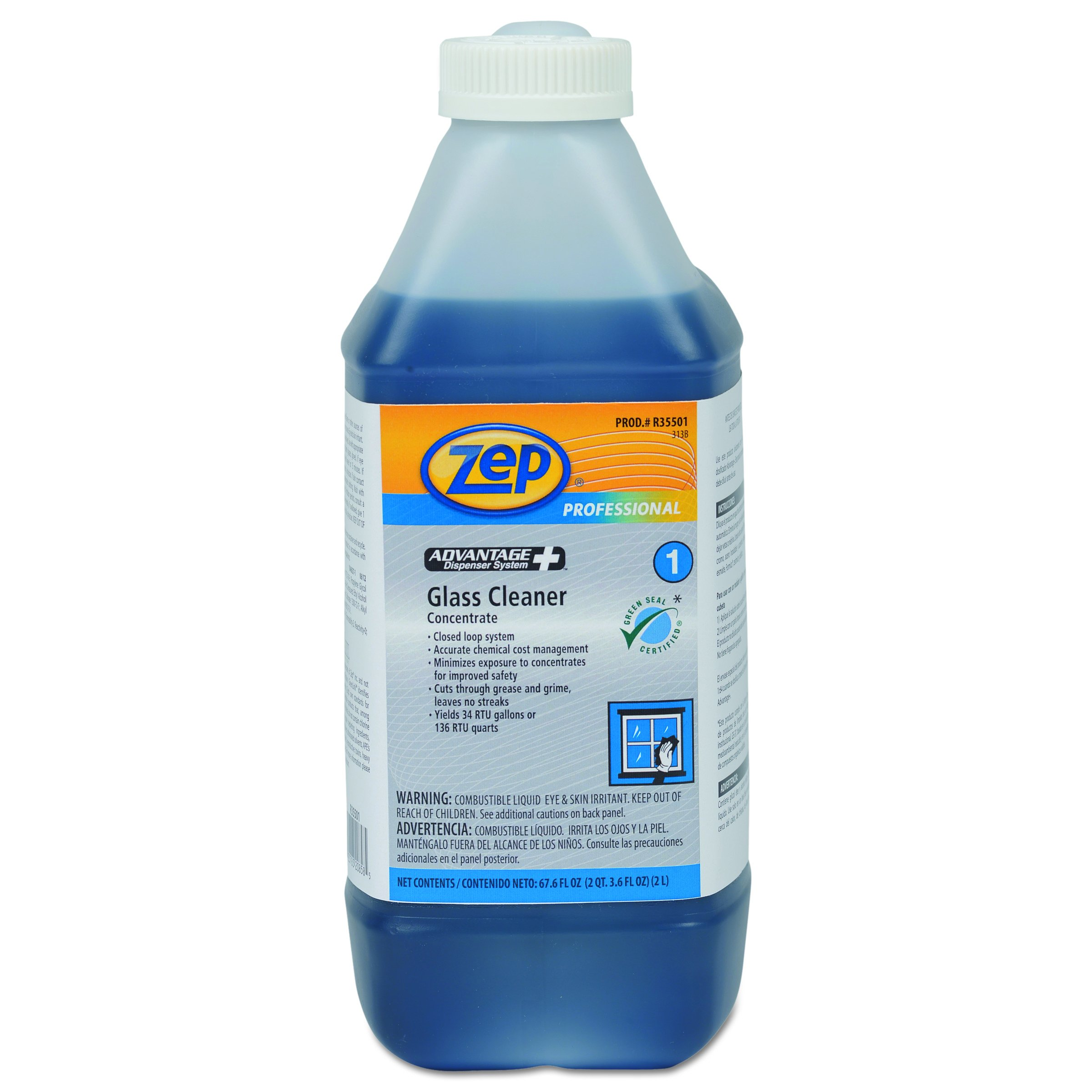 Zep Professional R35501CT Advantage+ Concentrated Glass Cleaner, 67.6 oz Bottle (Case of 4)