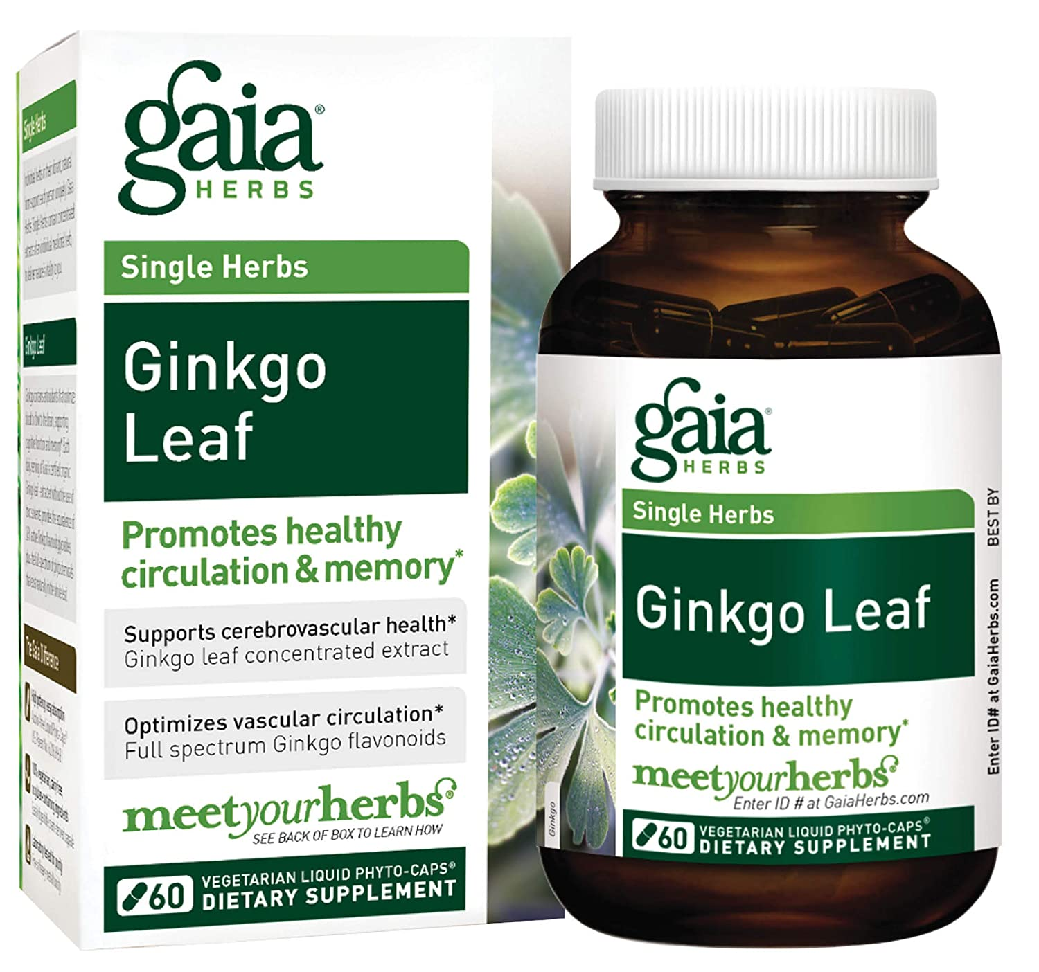 Gaia Herbs Ginkgo Leaf, Vegan Liquid Capsules, 60 Count – Daily Brain Health and Mental Focus Supplement with Antioxidants, Organic Ginkgo Biloba 1380mg Per Serving