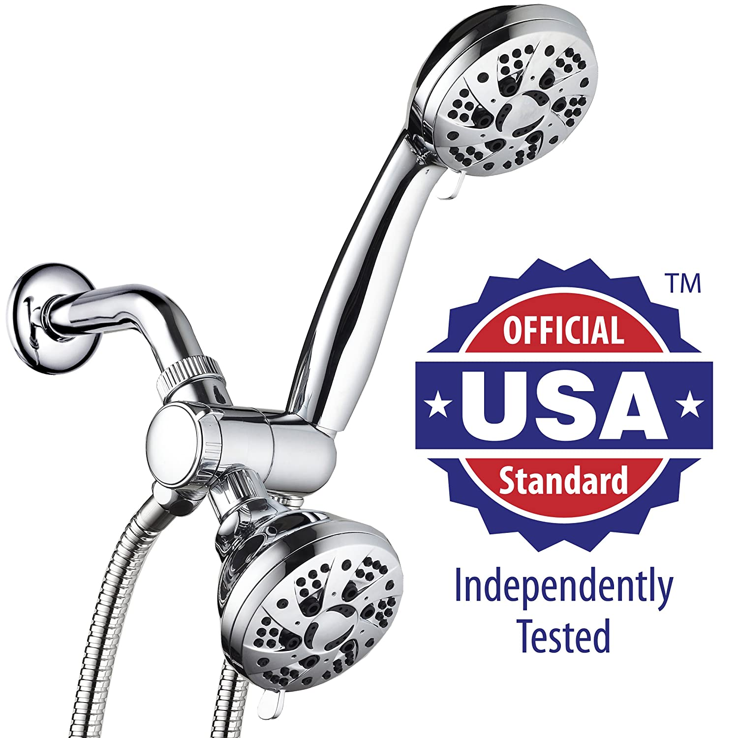 hot sale 2017 AquaDance High Pressure 3-way Twin Shower Combo Lets You Enjoy Two 6-Setting 3.5-Inch Showers Separately or Together! Officially Independently Tested to Meet Strict US Quality & Performance Standards