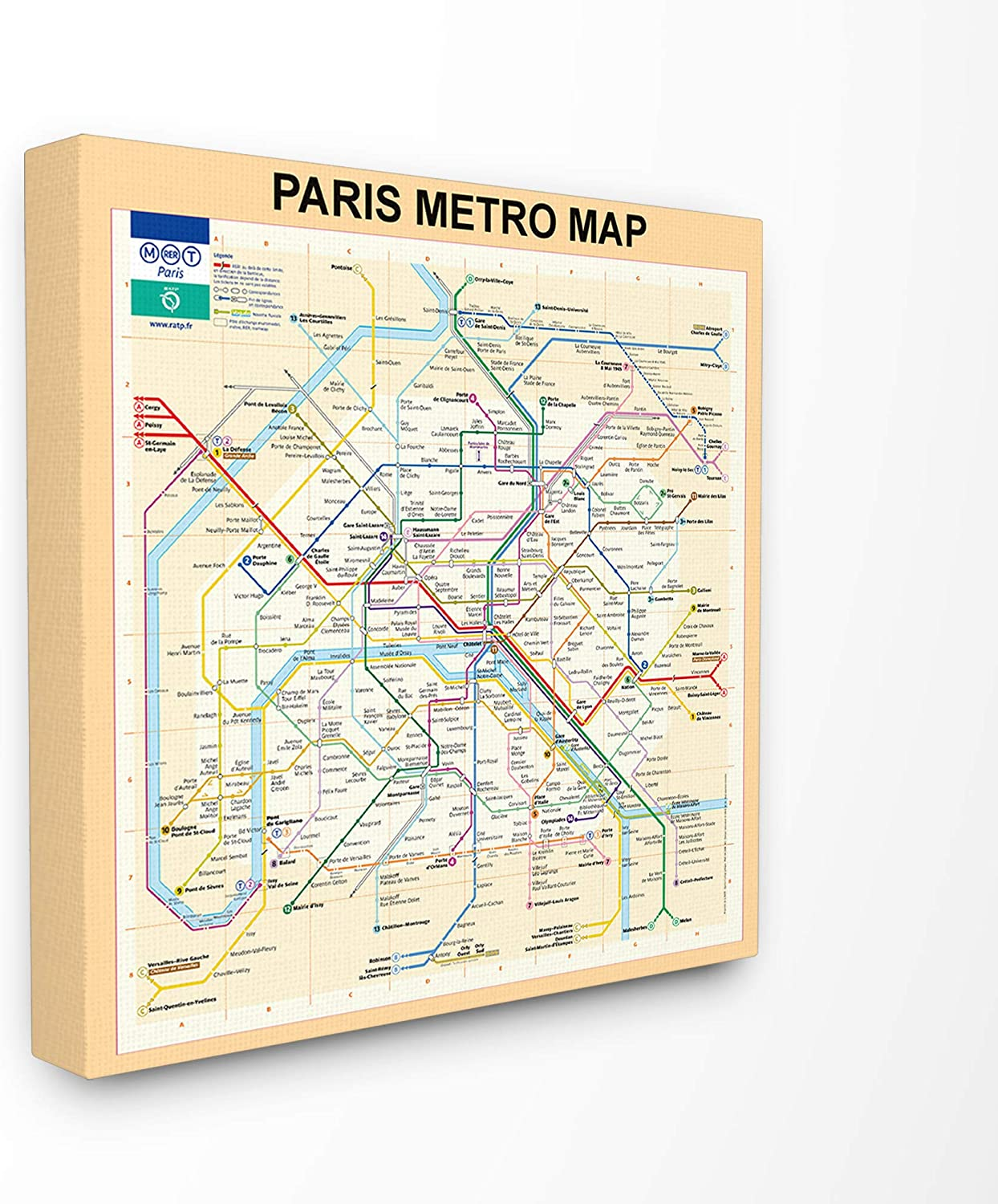 The Stupell Home Décor Collection Neutral Tan Travel Paris Metro Subway Map Stretched Canvas Wall Art, 17 x 17, Multi-Color