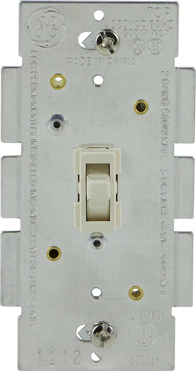 GE Light Switch Dimmer, Single Pole Toggle Dimmer, On/Off Dimmable ...
