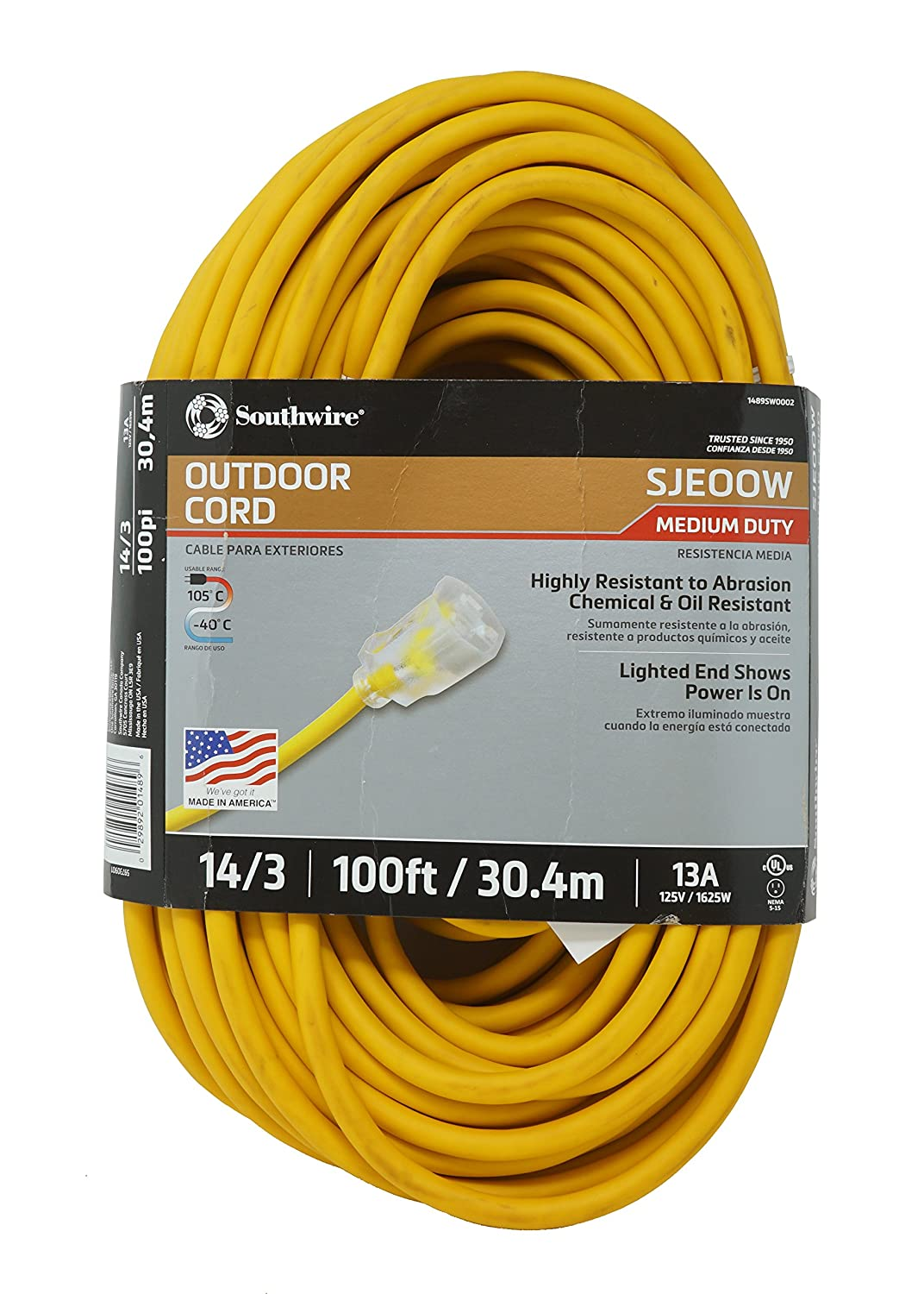Southwire 01487 25' 14/3 American Made Insulated Outdoor Extension Cord with Lighted End, 3-Prong, Yellow 1487SW0002
