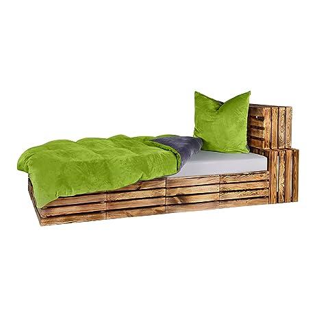 Winter UNI-Wende Cashmere Touch Bettwäsche Anthrazit/Grün 2 tlg. Set 1x135x200 + 1x80x80 cm ähnlich Plüsch Nicky-Teddy-Corals