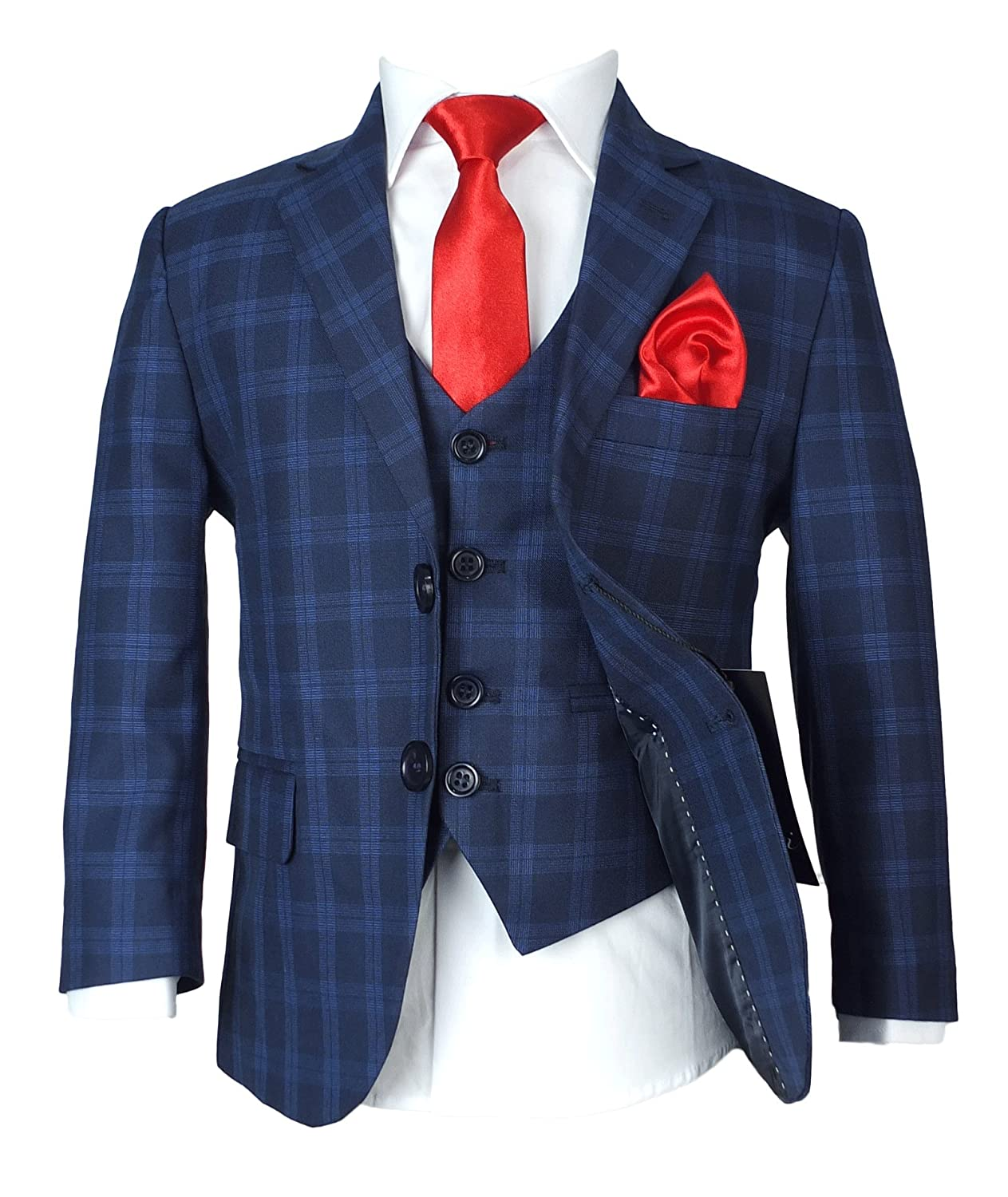 Boys Navy and Royal Blue Checkered Suit, Pageboy Formal Outfit