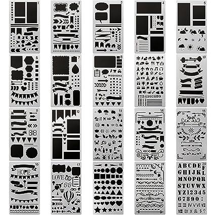 Journal Planner Drawing Templates Stencils Ruler Set 20 Pieces for Bullet Journal, Scrapbook, Crafts Projects, Making Card, Leuchtturm A5 Notebooks, ...