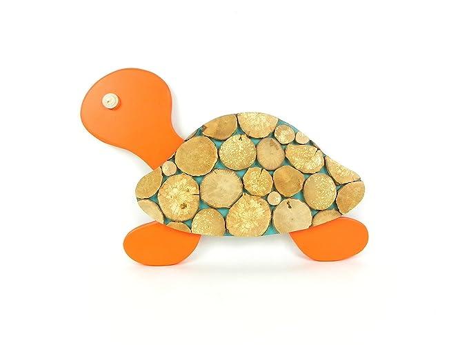 Décoration chambre d\'enfant / bébé, tortue fait main en bois, orange ...