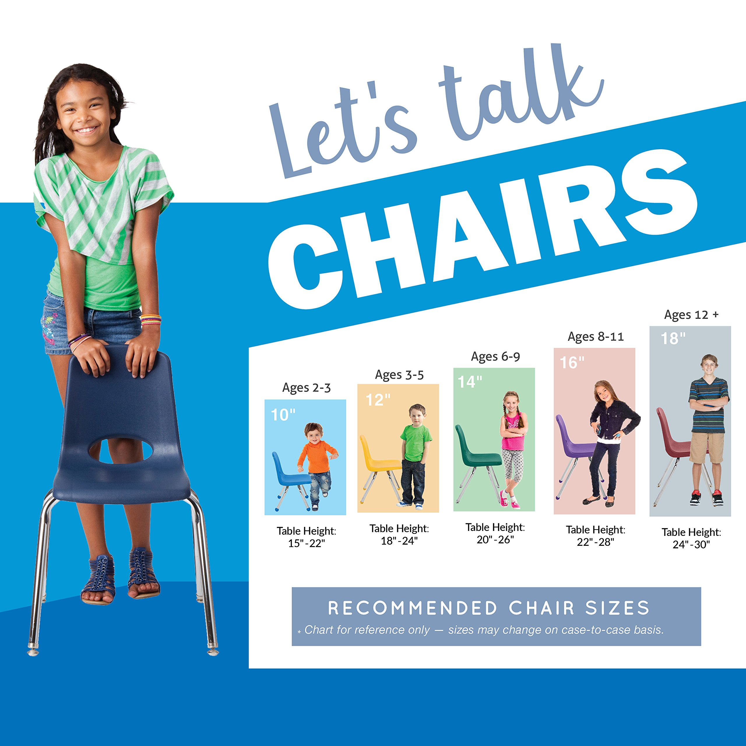 ECR4Kids 12'' School Stack Chair, Chrome Legs with Ball Glides, Blue (6-Pack) by ECR4Kids (Image #4)