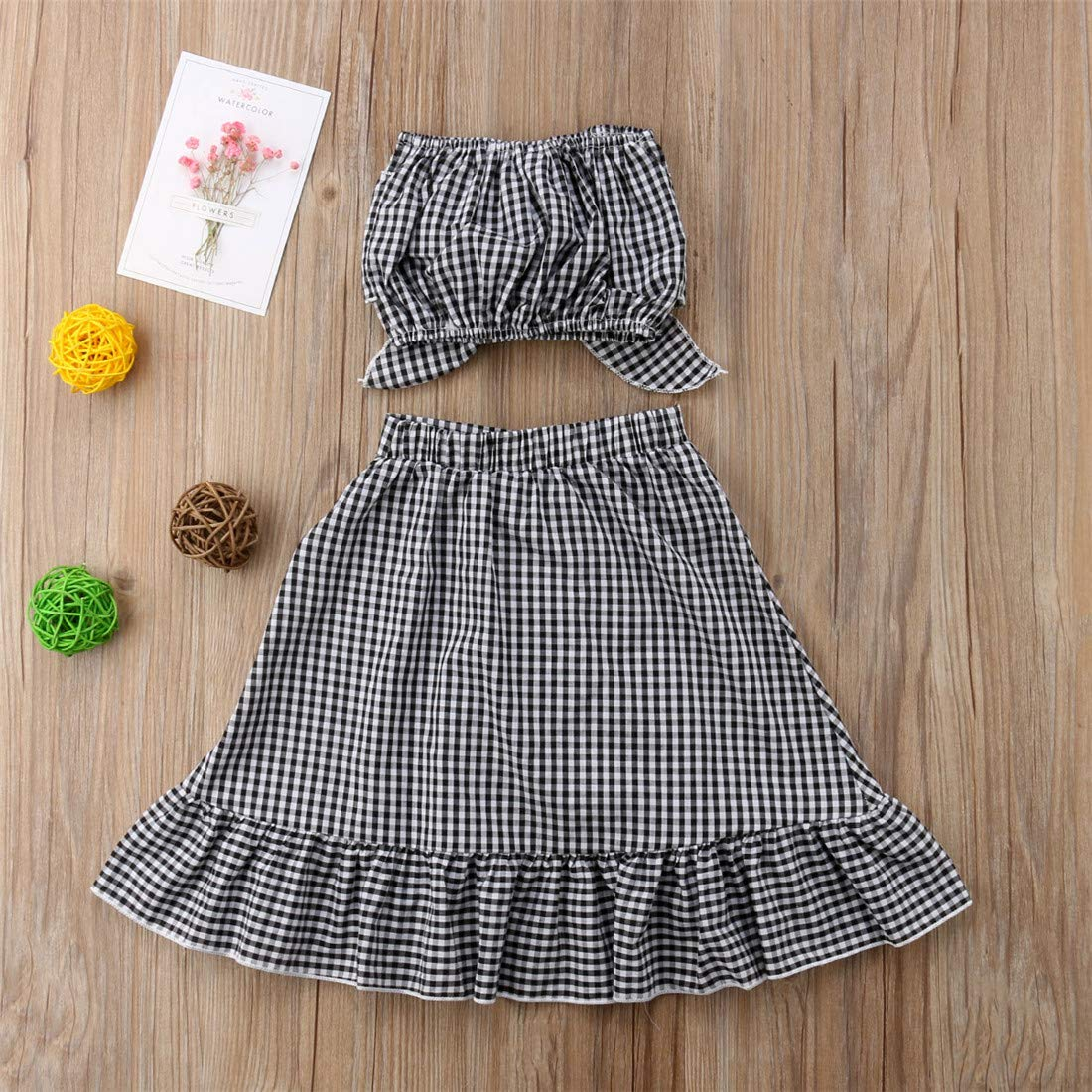 Baby Girl Toddler 2/3 Sleeve Black Crop Top + Grey Shorts Bowknot Skirts Outfit Clothes 2Pcs/ Set (Plaid, 6-12 Months) by Mornbaby (Image #6)
