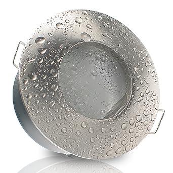 Decken Einbauleuchte NAUTIC IP65 rund Alu EDELSTAHL OPTIK gebürstet 12V  230V (ohne Leuchtmittel) Einbaustrahler für Bad, Dusche, Nassraum  Feuchtraum ...
