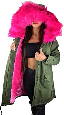 Worldclassca Parka Damen Winter Jacke mit Patches XXL Kunstfell Pink Rosa Kapuze Mantel Fashion Jacket Blogger mit REIßVERSCHLUSS Neu GEFÜTTERT Warm
