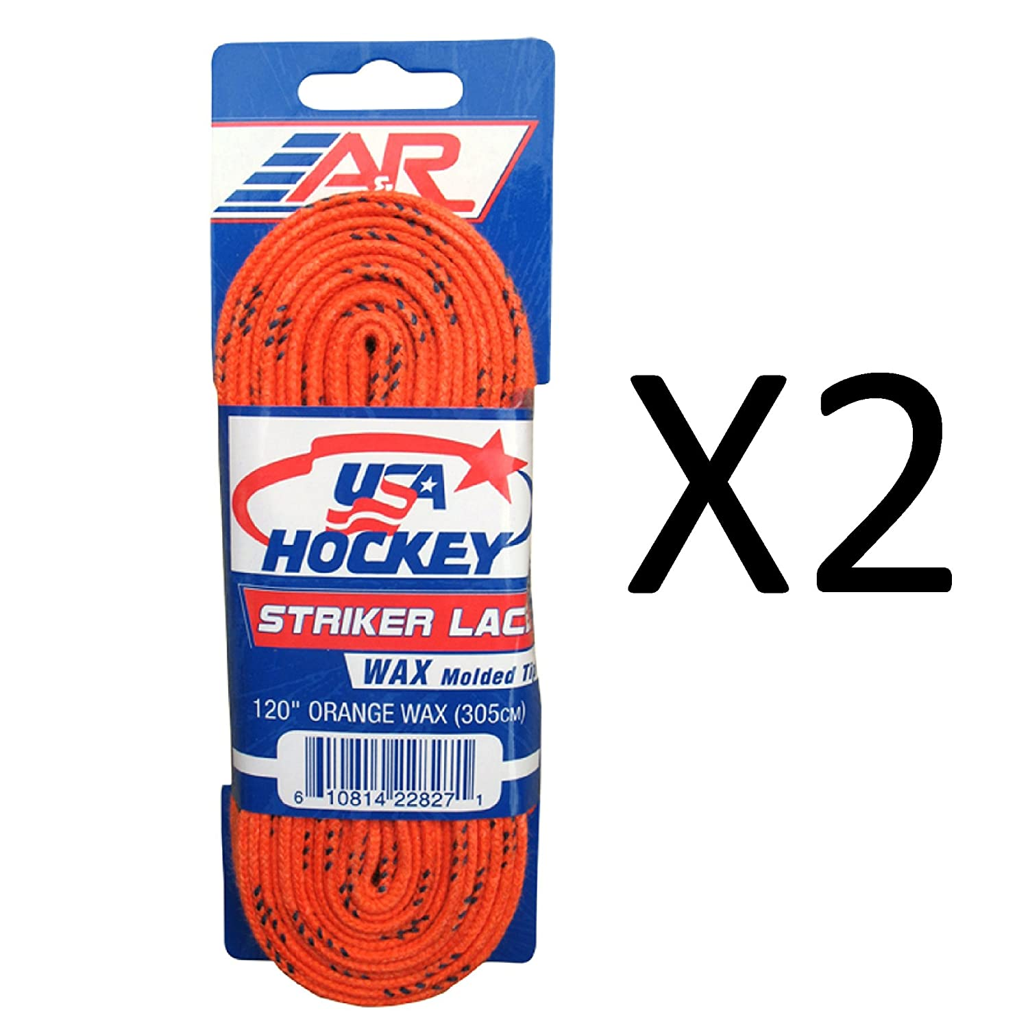 A&R Sports USA Hockey Laces - Waxed Striker Laces - Orange 120 Inches (2-Pack) A & R