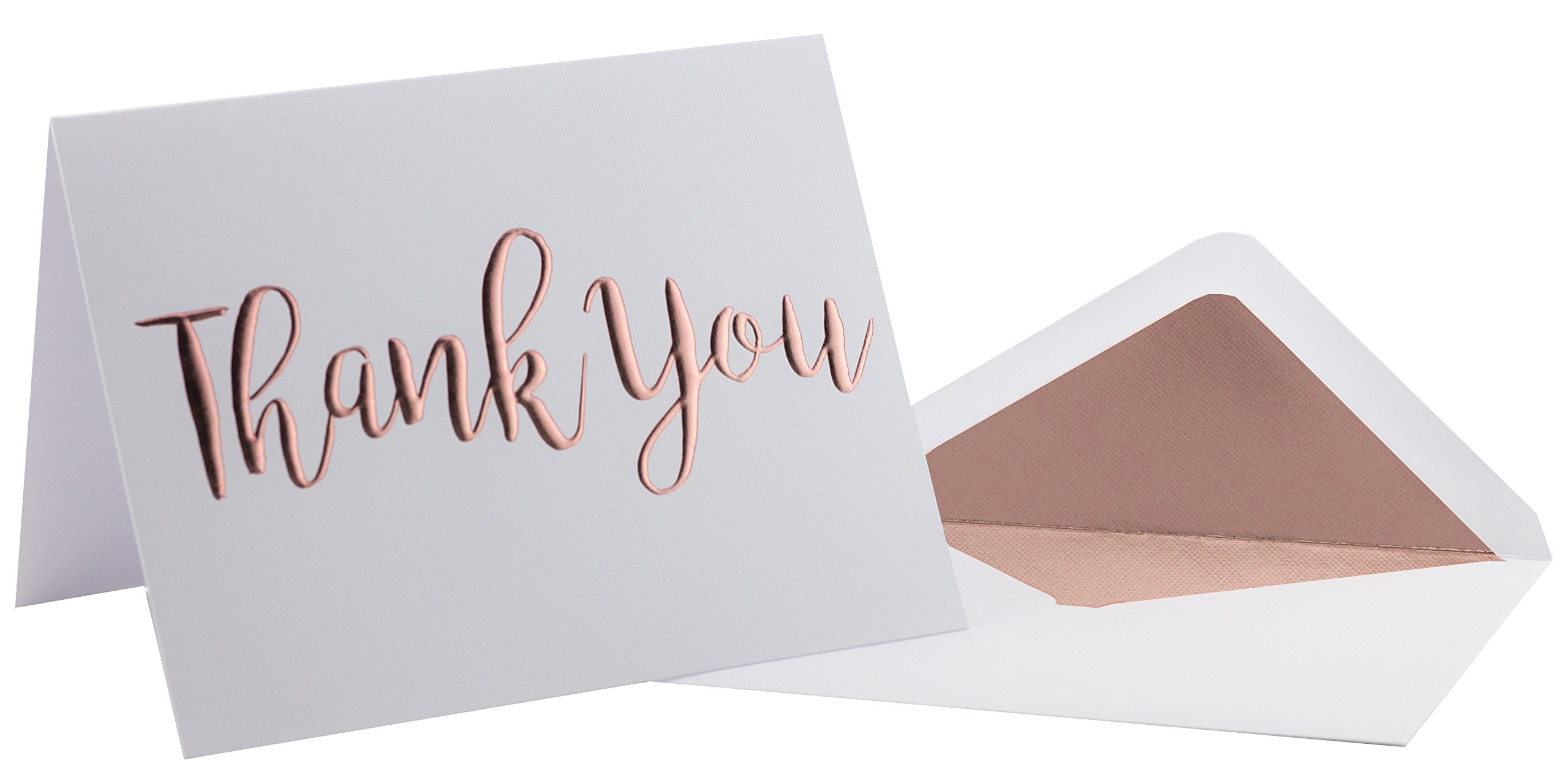 Thank You Cards - 20 Pack - Rose Gold Foil ''Thank You'' on Heavyweight Linen Texture Cardstock - Box of 20 Premium Thank You Cards with 20 Foil Lined Envelopes (A2) 5.5'' x 4.25''