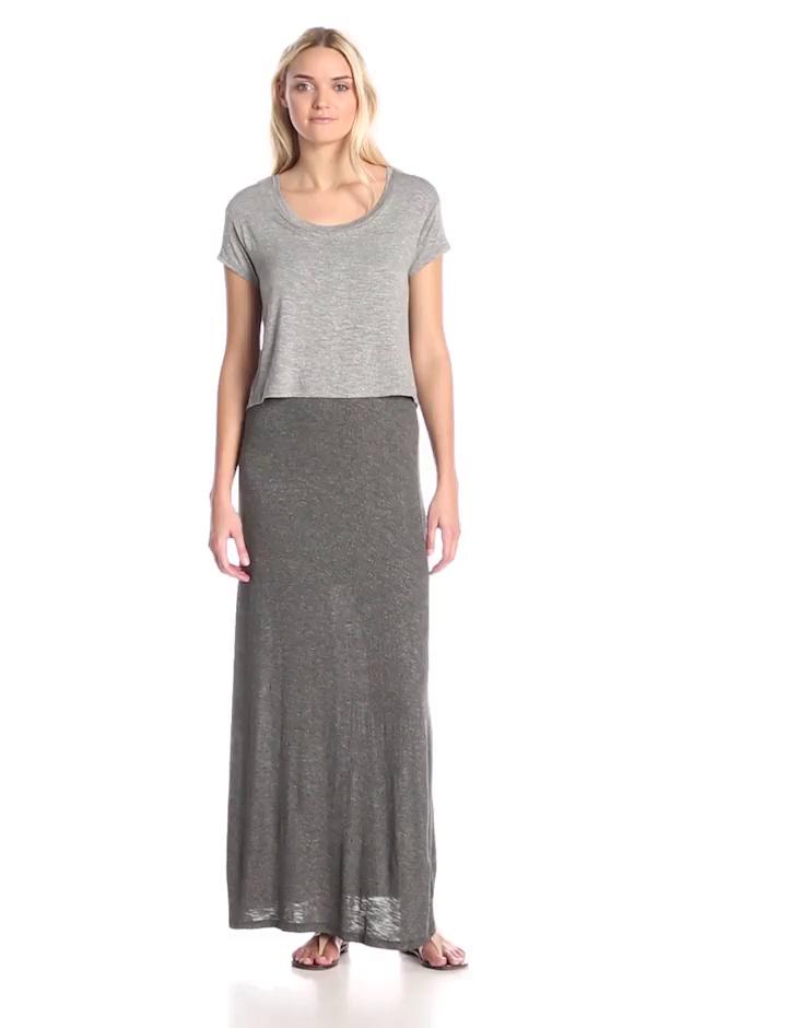 Splendid Women's Tee Overlay Maxi Dress, Heather Grey, Medium