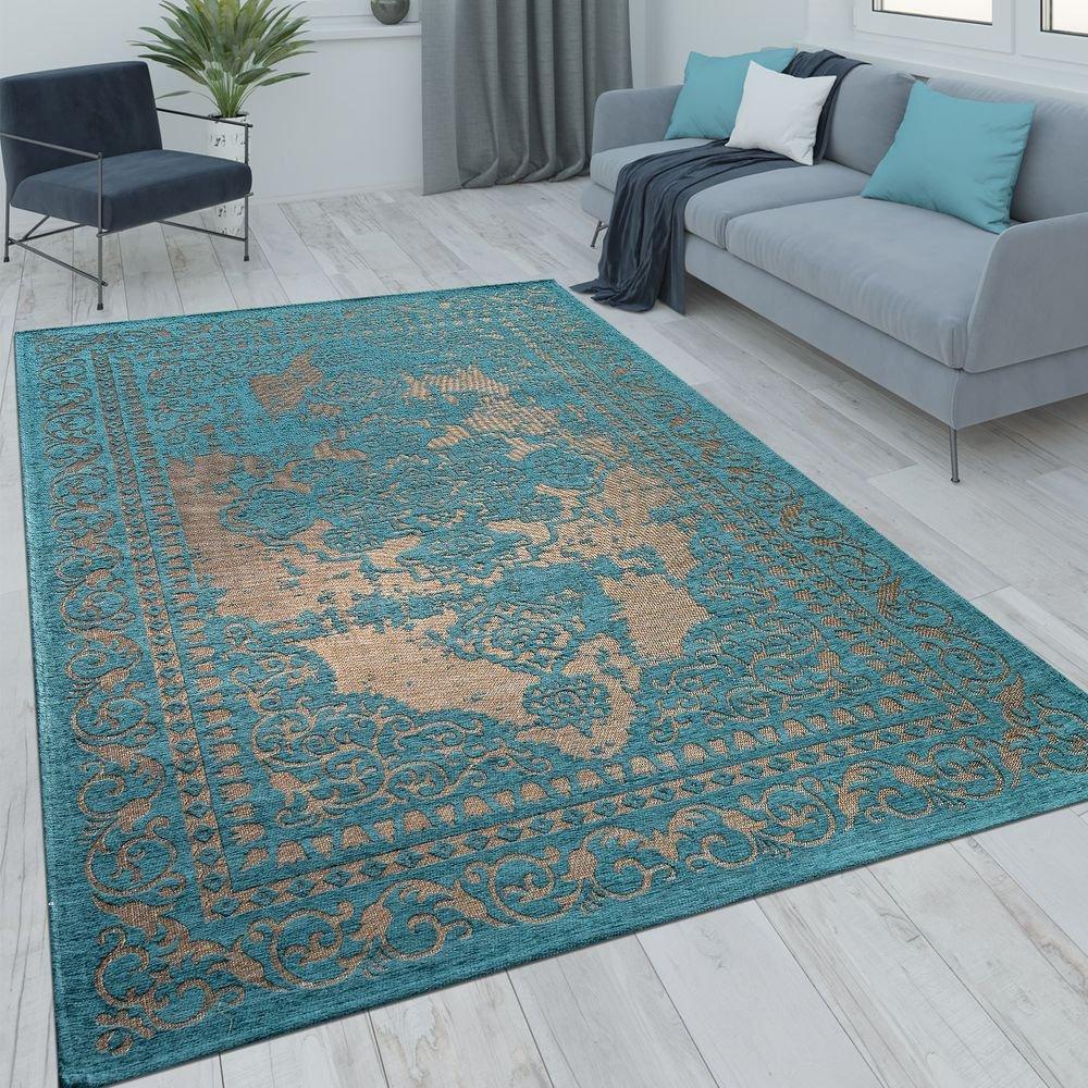 Paco Home Orient Kurzflor Teppich Wohnzimmer Moderne Vintage Optik Türkis Beige, Grösse 160x230 cm