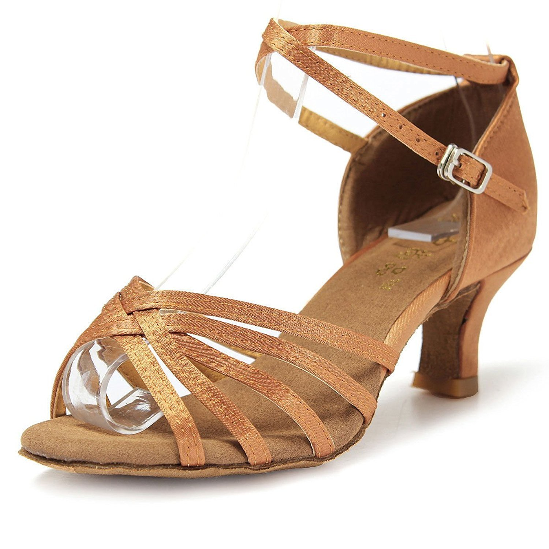 Mujer Zapatos Tacon - Generico 1 par Mujer Zapatos Tacon De Salsa Bachata Latinos Baile Sandalias Latin Shoe, Beige 39 077427B6