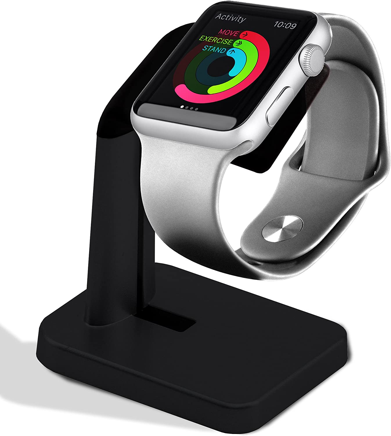 Melkiox Apple Watch Stand- Compatible with iWatch Nightstand Mode Charging, Smartwatch Holder for Series 4 / Series 3 / Series 2 / Series 1 44mm, 42mm, 40mm, 38mm (Black)