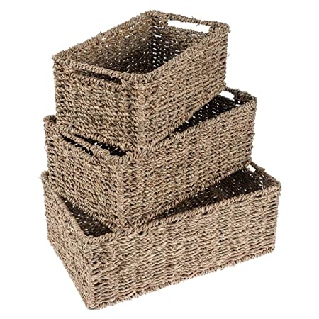 Homescapes Seagrass Wicker Multipurpose Storage Boxes, Set Of 3 Small  Medium And Large Rectangular Baskets