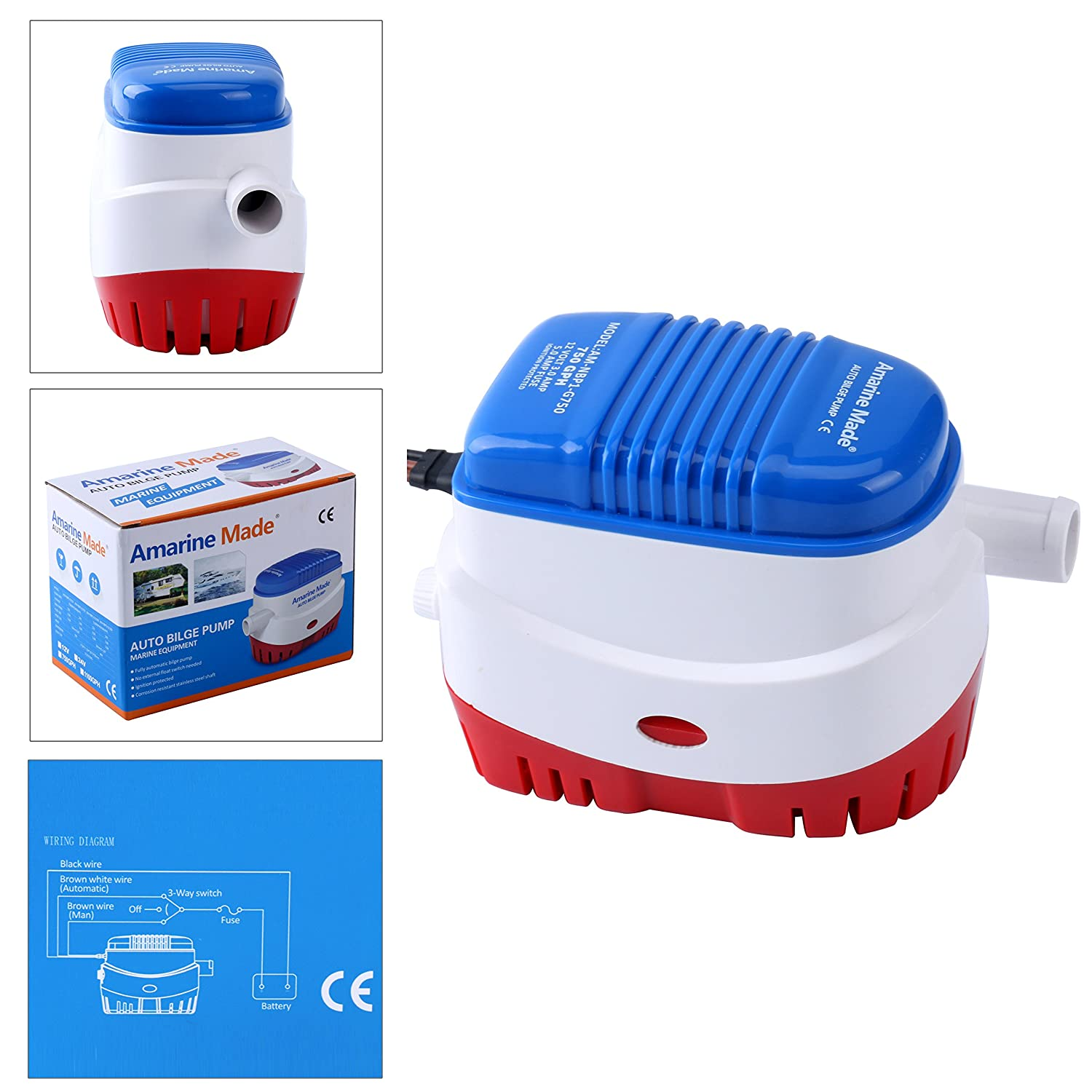 Amarine-made Automatic Submersible Boat Bilge Water Pump 12v 750gph Auto with Float Switch-new Blue