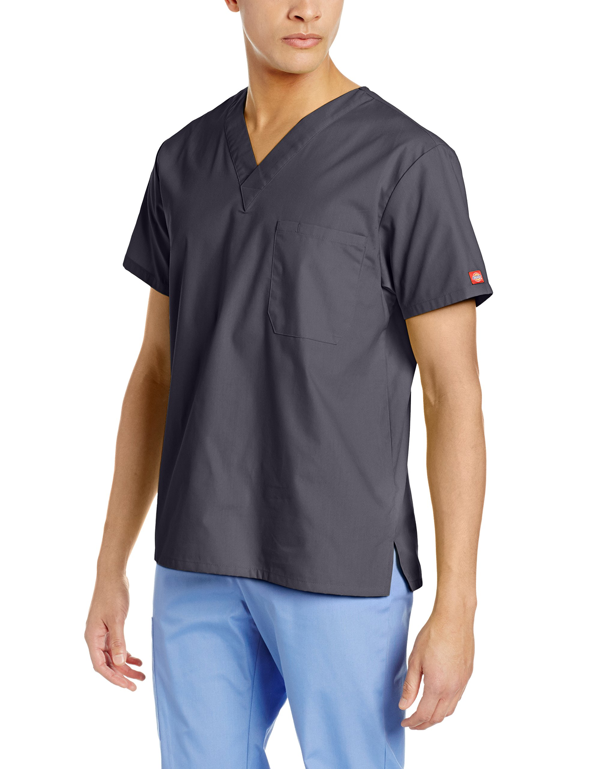 Dickies Unisex V-Neck Scrub Top, Pewter, Large