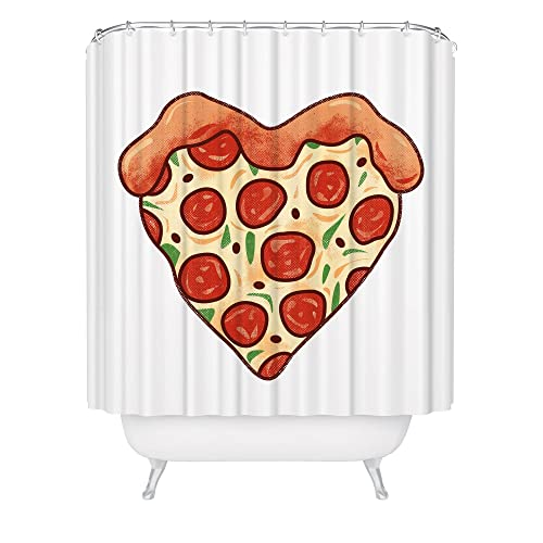 Pizza Heart Shower Curtain Pepperoni Bathroom Made In USA Great Decoration Gift