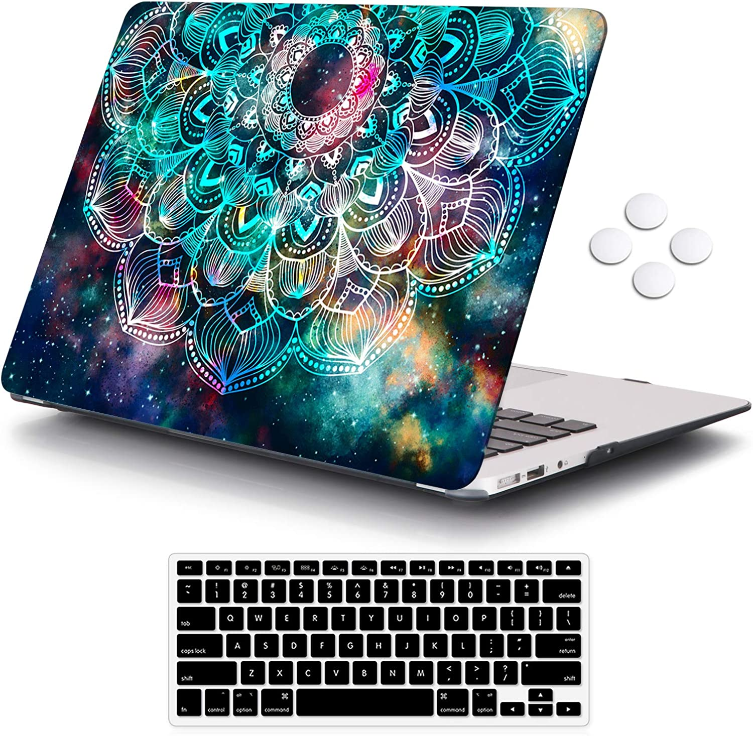 iCasso Macbook Air 11 inch Case Model A1370/A1465, Ultra Slim Pattern Plastic Hard Shell Case Protective Cover Compatible MacBook Air 11'' with Keyboard Cover - Nebula Mandala