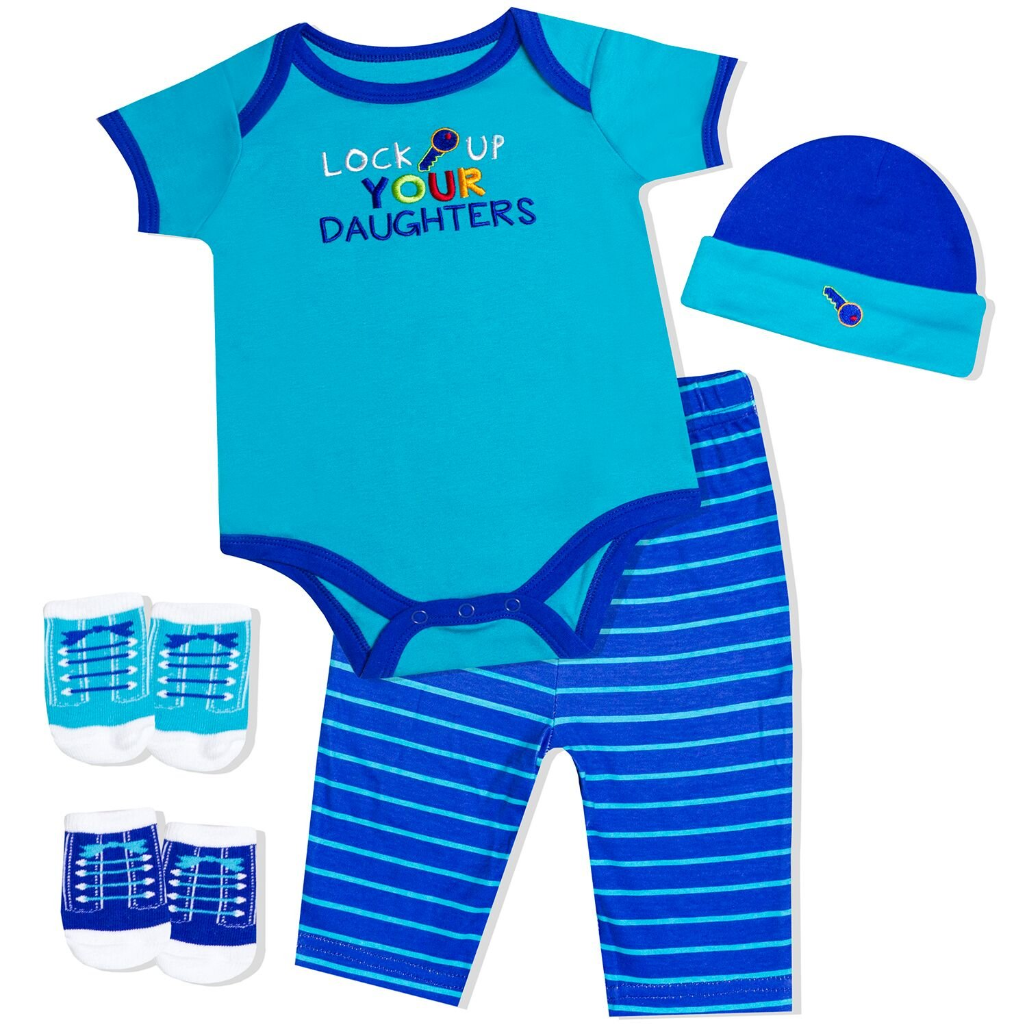 Baby Essentials Baby Boys' Lock 5-Piece Layette Gift Set 3 - 6 months BE-Layette-61917