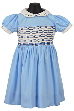 3b71dfca084 Baby Girl Hand Smocked Dress Embroidered Sky Blue Traditional Romany 100%  Cotton (6 Months)  Amazon.co.uk  Clothing