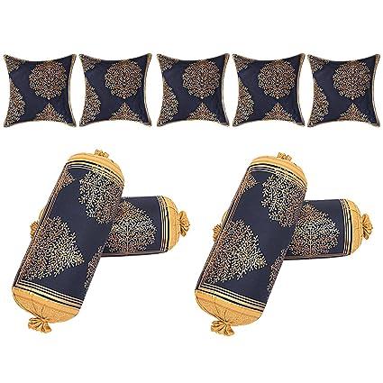 Jai Siya Ram Printers Traditional Rajasthani Printed Cotton Cushion and Bolster Covers Set (Navy)