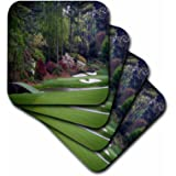 3dRose Augustas Amen Corner Golf Course - Golfers on Bridge - Soft Coasters, set of 4 (cst_131410_1)
