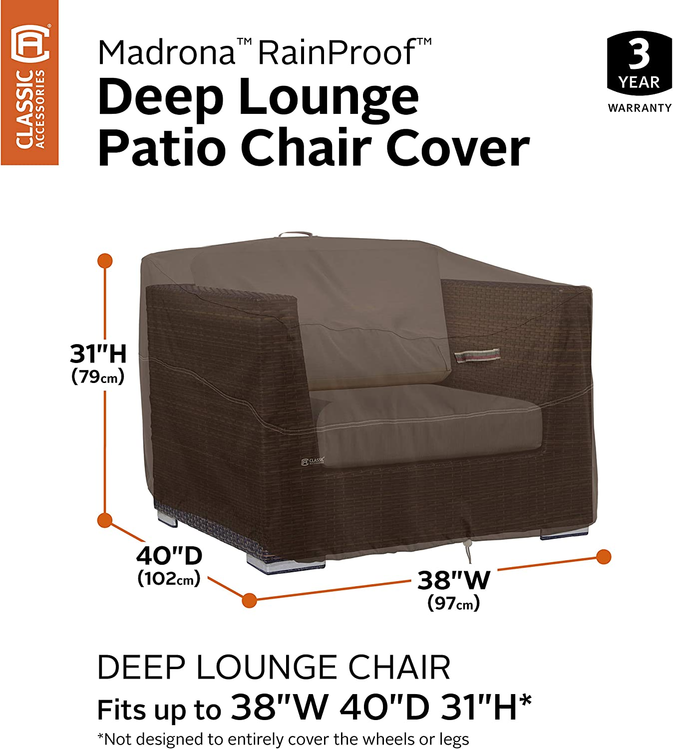 Classic Accessories 55-741-016601-RT Deep Lounge Chair Dk Cocoa