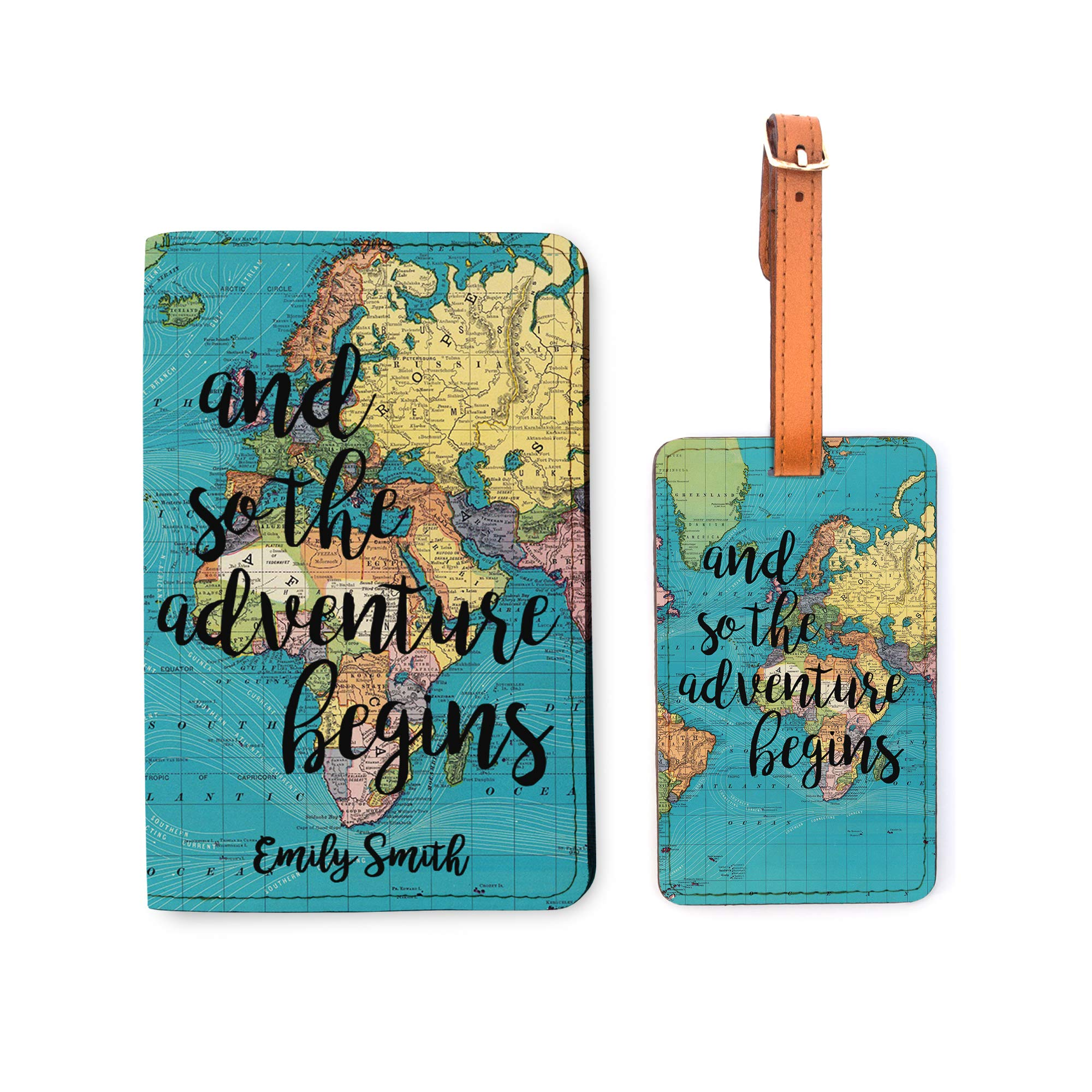 Personalized Passport Holder Luggage Tag Set - Customized Travel World Map by With Love From Julie