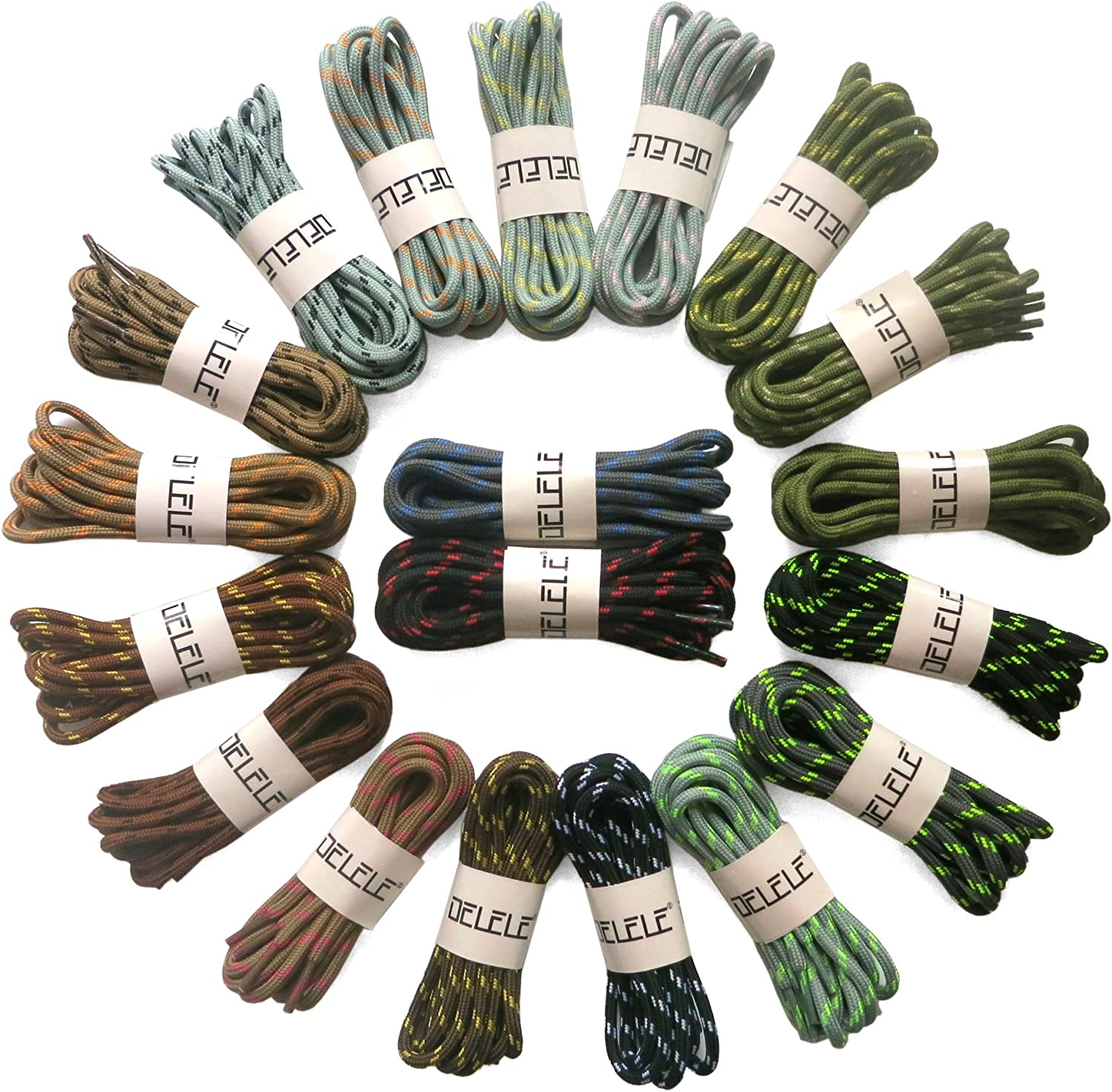 DELELE 2 Pair Work Boot Laces Outdoor Mountaineering Hiking Walking Shoelaces: Shoes