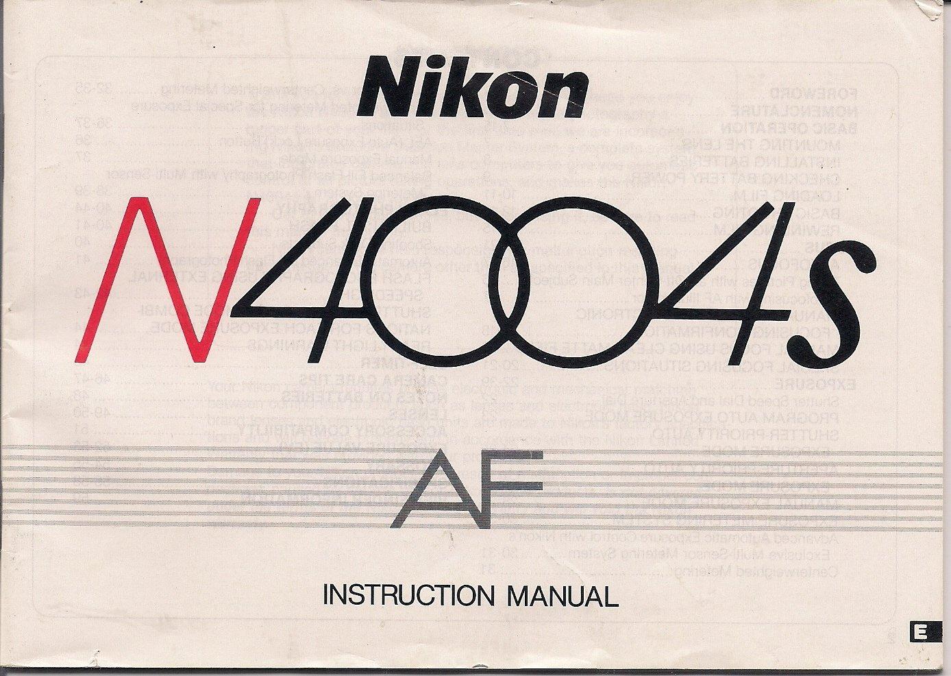 nikon n4004s af camera instruction manual nikon amazon com books rh amazon com Nikon N4004s 35Mm Camera Nikon F401