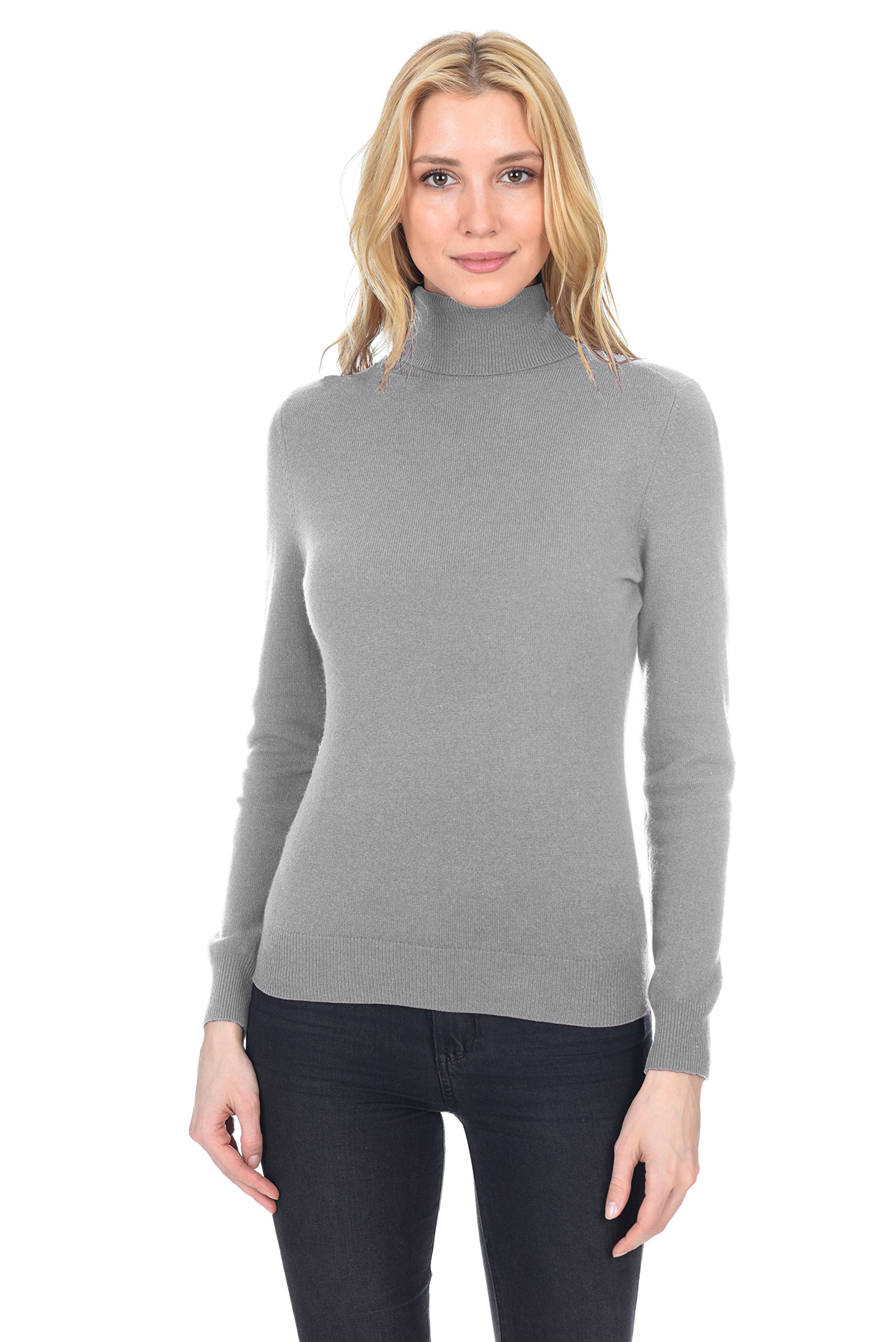 State Fusio Women's Cashmere Wool Long Sleeve Pullover Turtleneck Sweater Premium Quality Heather Grey
