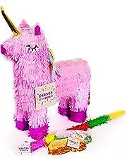Trendario Einhorn Pinata Set, Pinjatta + Stab + Augenmaske, Ideal zum Befüllen mit Süßigkeiten und Geschenken - Piñata für Kindergeburtstag Spiel, Geschenkidee, Party, Hochzeit