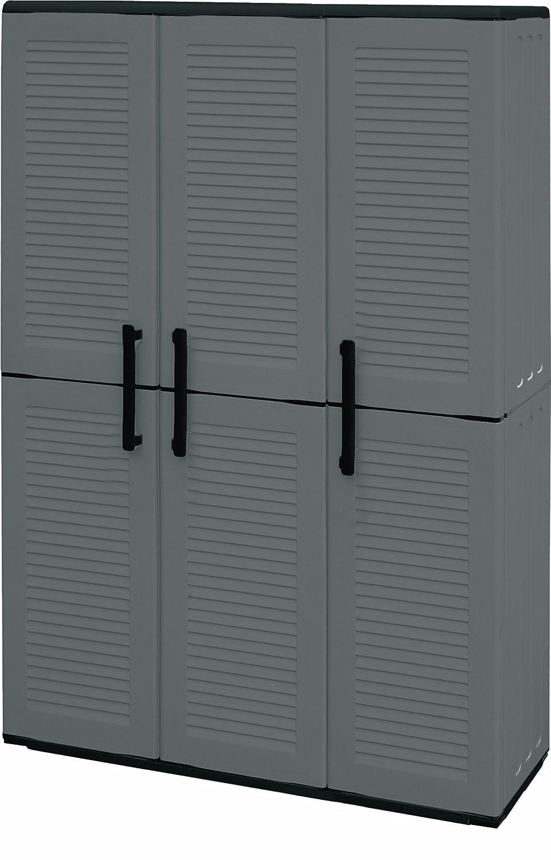 Art Plast Armadio 3 ante da esterno, alto in plastica, tuttopiani e portascope, economico, grigio/nero E101