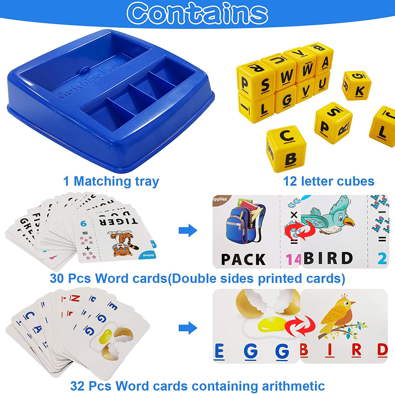 Number and Color Recognition Alphabet Reading Spelling Words and Objects Matching Letter Game Educational Preschool Learning Toys Spelling Games for Kids Preschool Language Educational Toys