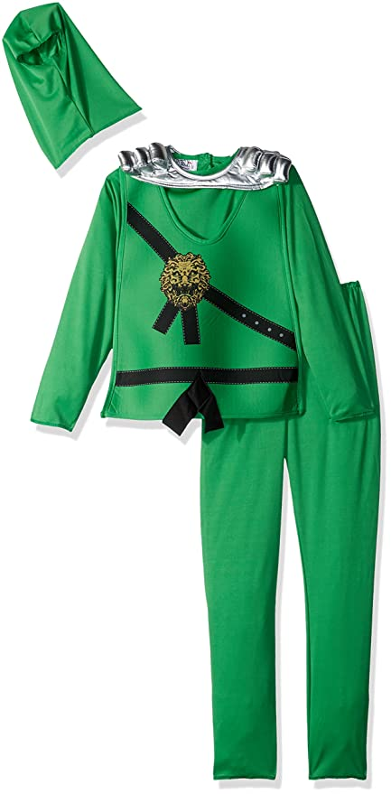 Charades Childu0027s Ninja Avenger Series I Costume Jumpsuit Jade Green Small  sc 1 st  Amazon.com : green ninja avenger costume  - Germanpascual.Com