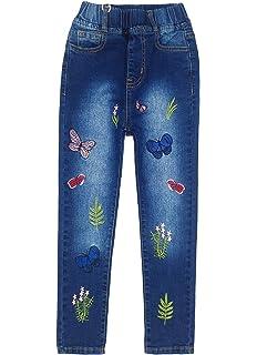 Amazon.com: Big Girls Kids Distressed Ripped Hole Teens Jean ...