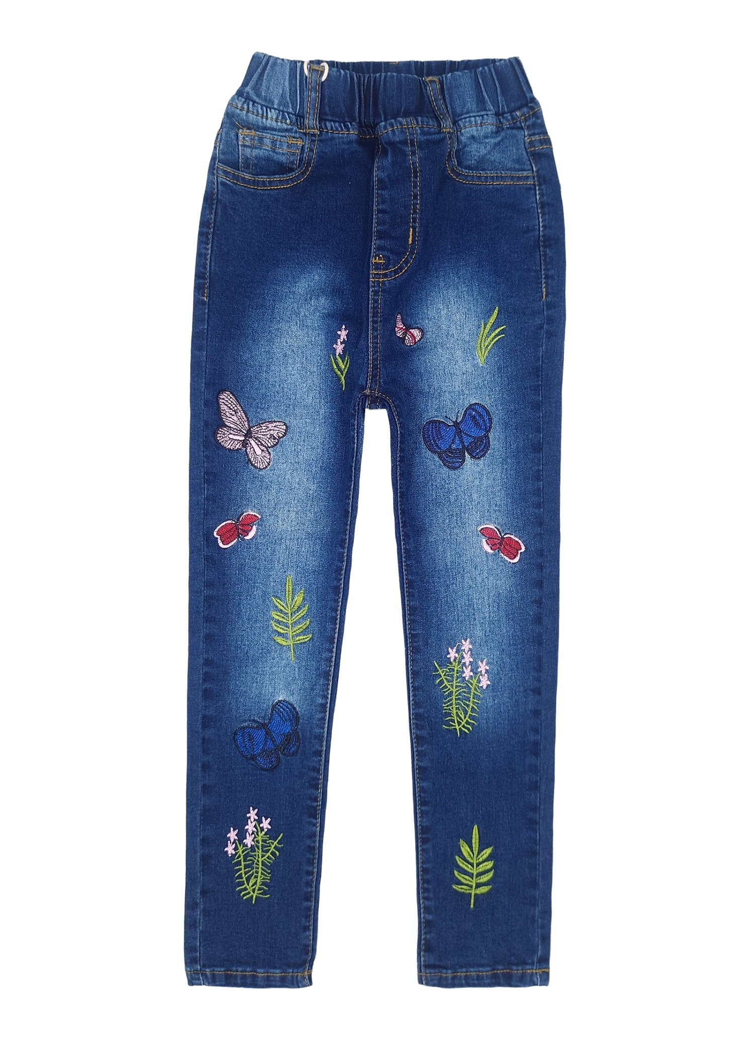 Kidscool Girls Embroiderd Grass Jeans Pants