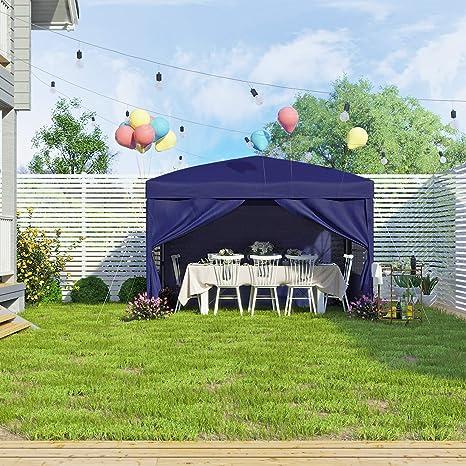 SONGMICS Carpa Marquesina 3 x 3 m, Anti-UV, Carpa Toldo Impermeable con Bolsa de Transporte 2 Paredes Laterales Completas, Portátil para Fiesta de Jardín al Aire ...