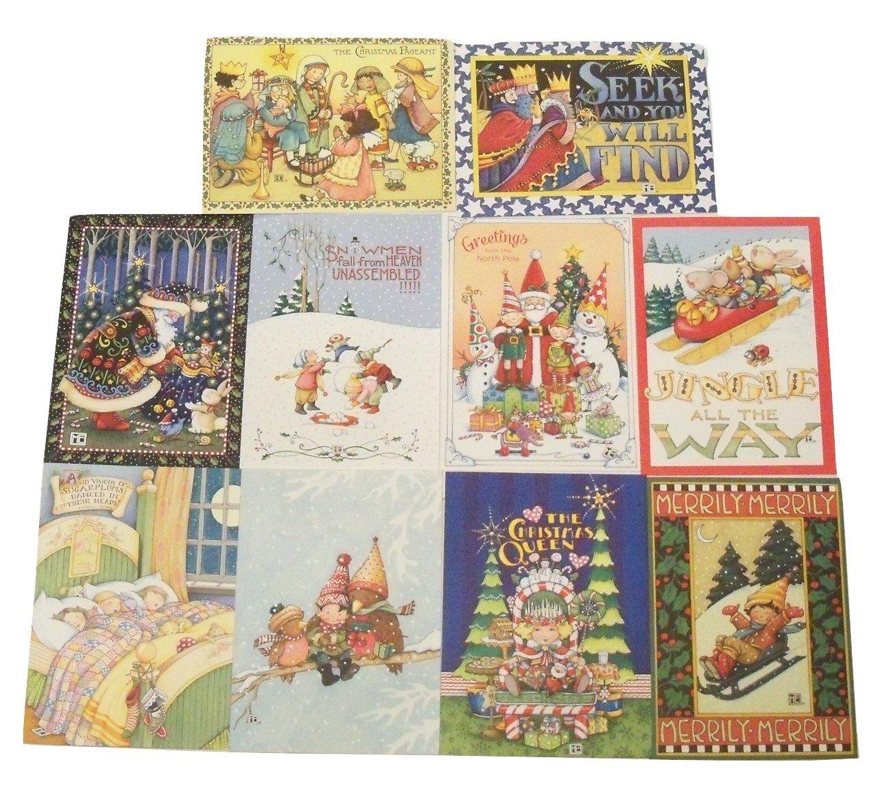 Amazon.com : Mary Engelbreit Christmas Card 10 Pack ~ The Christmas ...