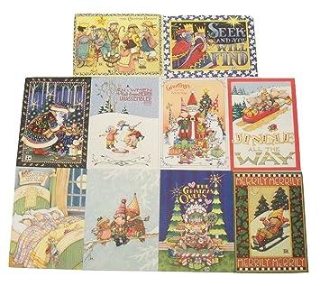 Amazon.com : Mary Engelbreit Christmas Card 10 Pack ~ The ...