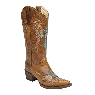 the best attitude ec60d a3fe6 Amazon.com   Corral Circle G Women s Wing and Cross Embroidery Western Snip  Toe Boots   Mid-Calf